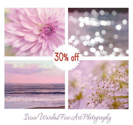 Bedroom wall art photo set, 4 11x14, 8x10, nature photography, lavender pink purple decor, floral artwork ocean sparkles, girls room prints