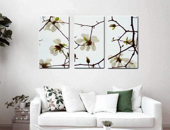 3 piece wall art white flower canvas art aqua brown floral canvas split