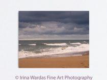Ocean canvas art, large wall art, dark and stormy brown dark grey coastal decor Virginia Beach canvas, nautical artwork, dark clouds, waves