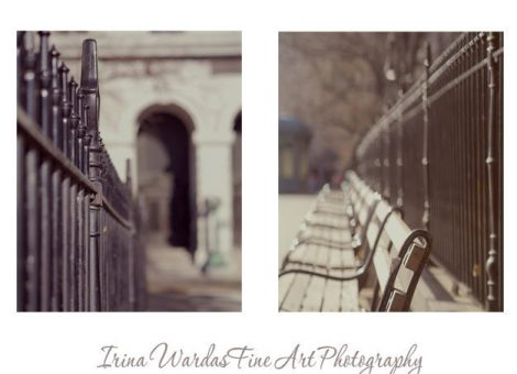 New York City print set of 2, new york wall art, park bench, fence art, New York photographs 8x10, 11x14 nyc pictures, grey New York decor