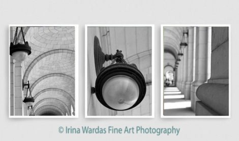 Architecture black and white travel photography, architectural print set of 3, Beaux-Arts style, Union Station DC, foyer wall decor vertical