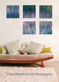 Teal wall art, modern abstract art, contemporary art, 4 piece wall art canvas abstract, pink blue green decor oversized art 5 panel canvas