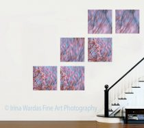 Extra large contemporary art Cherry Blossom modern abstract, 6, 5 panel canvas abstract, pink peach blue 4 piece wall art 5 piece canvas set