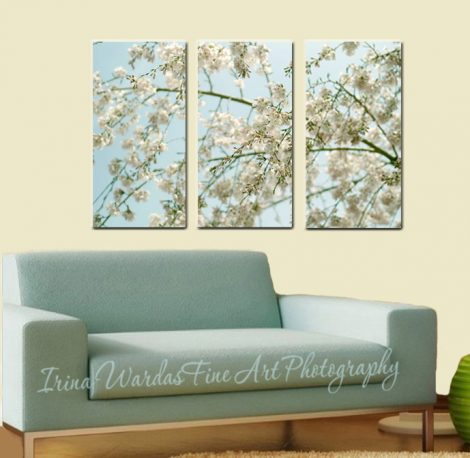 3 panel wall art, Cherry Blossom canvas wall art, aqua mint beige bedroom extra large art, nature 3 piece canvas, tryptich art oversized