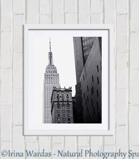 Empire State Building photograph, New York City Manhattan, black & white New York skyline architecture, NYC print 8x10, 11x14 vertical decor