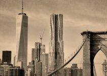 Sepia photography, New York City art, New York print, architecture art, Brooklyn Bridge, one world trade center, brown decor, nyc picture