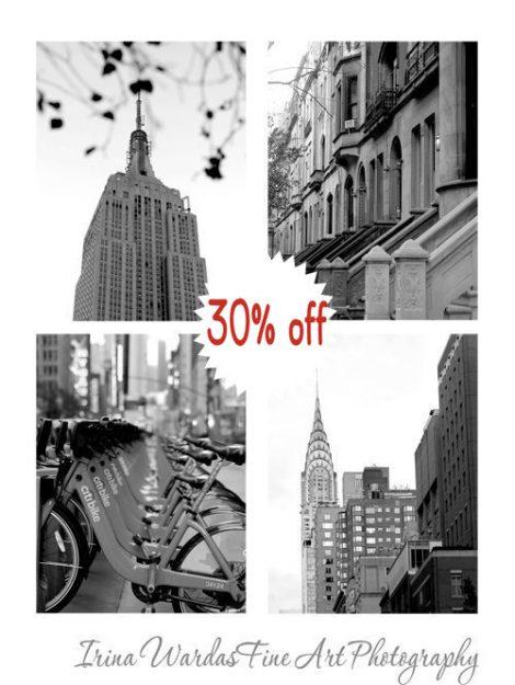 New York photography set, black and white 4 8x10 nyc prints, New York City skyline architecture Empire State, Chrysler building, urban decor