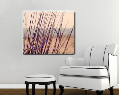 Minimalist beach art, large canvas wrap, beach grass canvas photography, tan purple plum nautical abstract, coastal wall art, canvas print