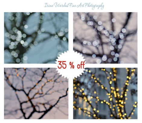 Tree art prints lighted tree photography set, winter night lights abstract gallery wall art, modern decor fairy lights, festive home decor