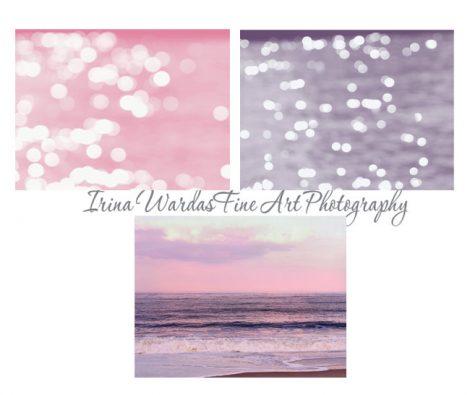 Pink and purple ocean photography set, beach print set, sparkling light bokeh sunset art, 3 11x14 nautical prints, beach bedroom wall art