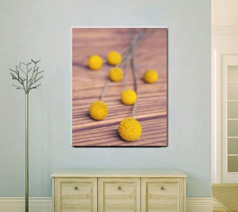 Rustic canvas art, yellow flower canvas print, vertical large wall decor, brown mustard yellow wall art, wrapped photograph, still life art