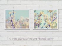 Mint green yellow nursery wall art, Forsythia branches artwork, botanical photography set 2 spring nature photos, pale floral print pictures