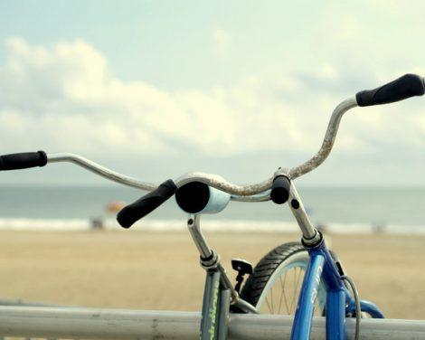Bicycle wall art beach bike photography, bike art print, aqua beige blue beach house decor, beach bike print, bikes picture, bike wall art