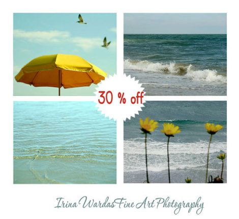 Beach wall art, ocean photography, teal and gold yellow nautical decor art, mint and gold set of beach prints, 11x14 print set sea pictures