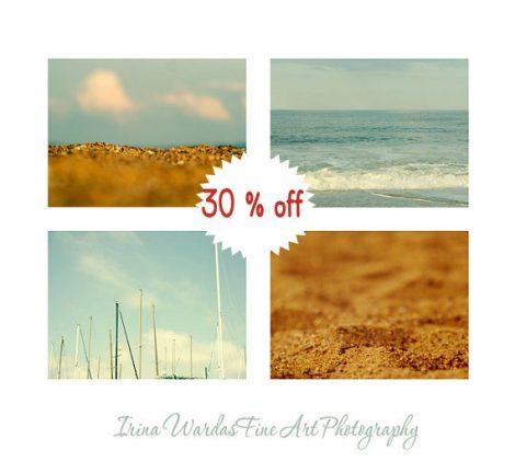 Coastal wall art, aqua and gold nautical art decor, beach photography set 4 beach prints 11x14, modern beach bedroom decor, light blue ocean