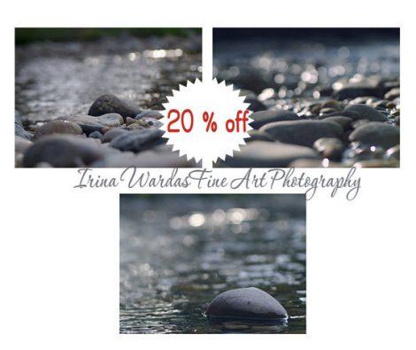 Beach photography set 3 coastal decor prints, beach rocks pebbles stones, ocean spa art, indigo blue dark grey wall art, sprakle bokeh light