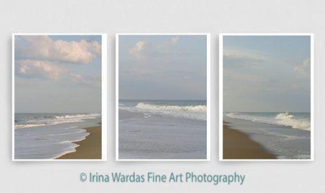 Photography beach print set, vertical coastal wall art, pastel blue ocean photographs set 3 11x14 beach bedroom decor prints, seashore art