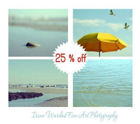 Ocean print set of 4 11x14 beach prints, mint yellow gold coastal wall art, nautical photography decor, beach pictures for bedroom print set