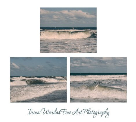 Ocean photography set 3 11x14, 8x10 ocean pictures, surf wall art prints, waves wall art set, wave photograph, blue teal beach cottage decor