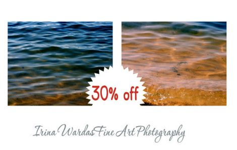 Water photography set of 2 art prints, teal and gold water ripples, amber navy blue modern home decor, sea ocean abstract, nautical artwork