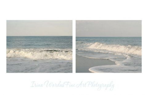Sea photography set of 2 ocean art prints, blue and white artwork ocean pictures tea blue wall art, ocean wall decor, bathroom photo prints