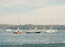 Lake house decor, lake photography, boat print, teal wall art, nautical picture, beach house art, aqua red green sailboats photograph 16x24