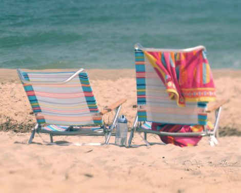 Beach chair photography, lake house decor, swimming art print, ocean photograph, colorful aqua teal pink seashore art photo coastal wall art