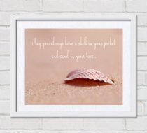 Seashell quote, coastal wall print quote, beach photography, beach cottage house wall decor, May you always have a shell inspirational art