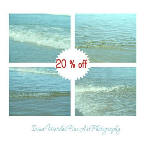 Ocean photography set 4 11x14, 12x12 bathroom art prints, mint aqua water art, water ripples, sea foam wall decor, pale blue yellow pictures