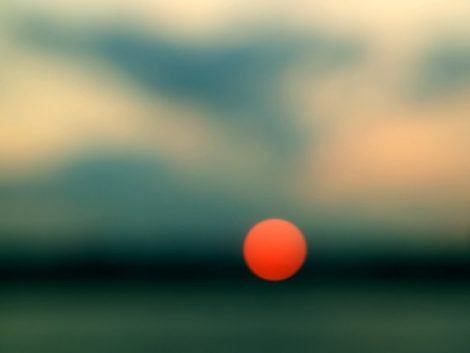 Sunset abstract photography, turquoise wall art, teal dark green peach orange decor, modern fine art photo, sun circle bokeh light sparkle