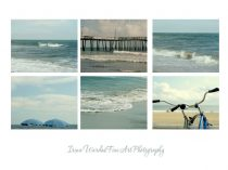 Photography beach print set of 6 11x14, 8x10, 5x7, bike umbrella ocean photograph gallery wall art collection teal aqua Virginia Beach decor