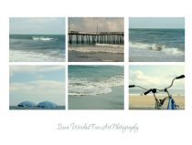 Photography beach print set of 6 11x14, 8x10, 5x7, bike umbrella ocean photograph gallery wall art collection teal aqua Virginia Beach decor