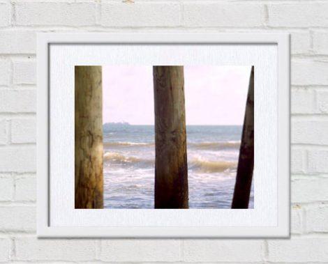 Pier photography, beach abstract photography, sea print, ocean photograph, coastal home decor, brown aqua grey nautical decor beach wall art