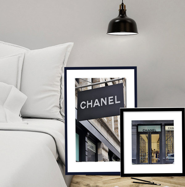 chanel decor. coco chanel photography print set of 2 art prints, french paris fashion wall art, decor