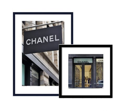 Coco Chanel photography print set of 2 art prints, French Paris fashion wall art, gold black chanel decor, nyc Chanel store shop boutique,