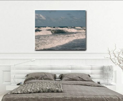 Coastal wall art beach photography on canvas art, Virginia Beach large canvas print, blue teal white ocean waves canvas wall art, nautical