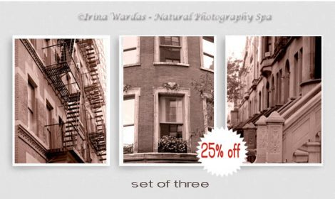 New York City sepia photography set 3 nyc prints 11x14, architecture art, New York decor, Manhattan apartments, New York pictures, vertical