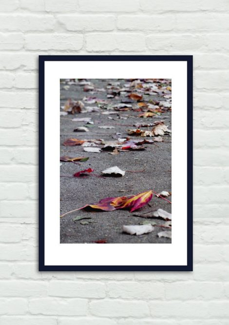 Autumn leaves photography, purple dark grey wall decor, yellow red leaves on ground, vertical print, fall home decor, office wall art print