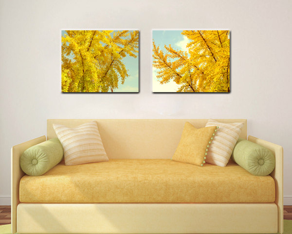 Yellow Leaves Canvas Wall Art Set of 2 | Fall Nature Gold Art Decor ...