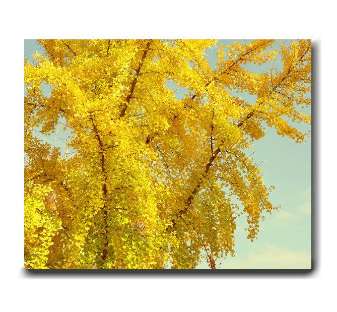Yellow Leaves Canvas Wall Art Set of 2   Fall Nature Gold Art Decor ...