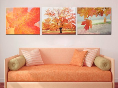 Autumn canvas art, tree wall art, canvas art set 3 canvas prints, fall nature gallery wall, yellow orange red leaf art, 3 piece wall decor