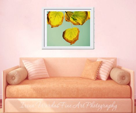 Tree leaf photography, yellow leaf art, mint green decor, nature photo print, botanical artwork, green yellow wall art print, bronze gold
