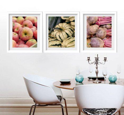 Kitchen prints vertical art, farmers market fruit & vegetable prints, food photography, kitchen pictures set of 3 photos, kitchen wall decor
