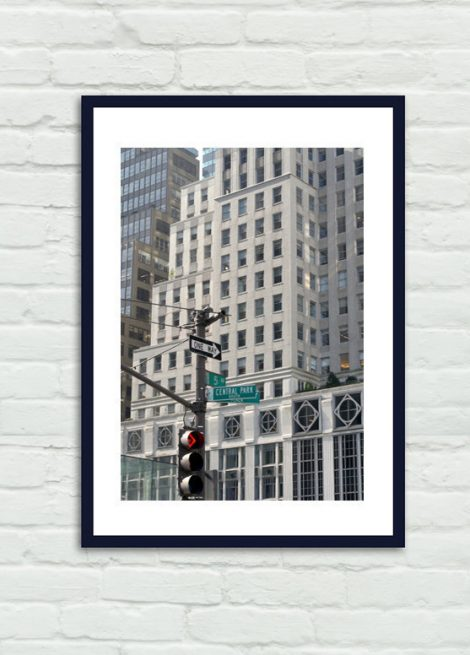 NYC photography, New York City art, New York street sign photo, building architecture art, 5th Avenue Central Park Plaza, vertical picture