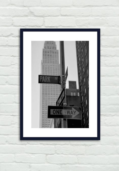 Black and white travel photography, New York City street sign decor, Park Avenue Empire State Building, nyc decor vertical wall art print