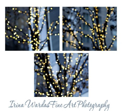Lighted tree photography set, grey blue and gold wall art, modern print set, yellow golden sparkles, abstract photography, light bokeh decor