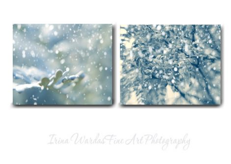 Winter canvas photography set 2 winter canvas prints, blue Christmas modern wall art nature canvas, ivory teal artwork, snow gallery wrap
