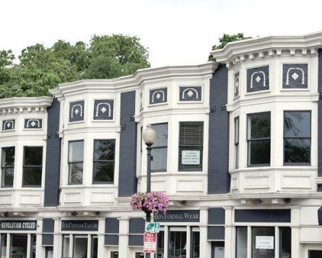 Georgetown print row houses photo, Washington DC photographic print, urban architecture picture 12x18, DC wall art grey blue white art decor