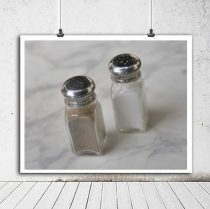 Food print kitchen art, salt and pepper culinary art, restaurant kitchen decor, still life food photo, kitchen wall art food photography