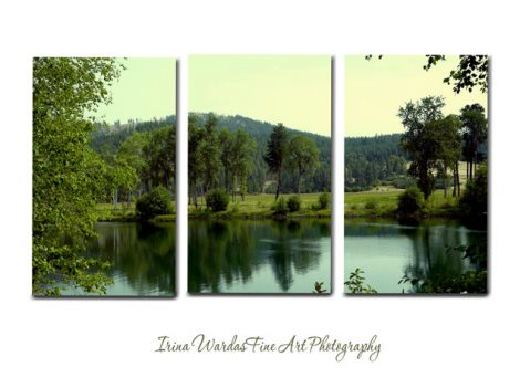 3 panel wall art nature photography lake canvas split, extra large wall art, 3 piece canvas tryptich tryptic art oversized, green mint decor